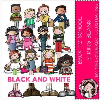 Melonheadz: Back to School clip art - String Beans - BLACK