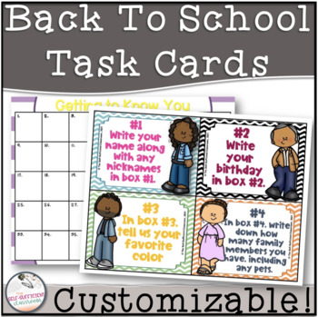 Back to School Striped Task Cards!