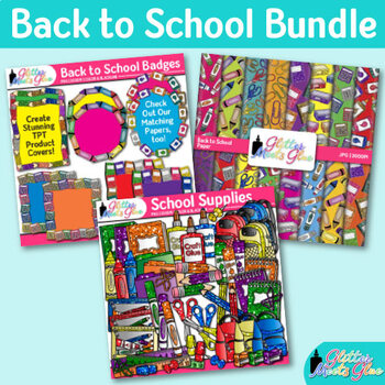 Back to School Supplies Clip Art Bundle {Scrapbook Paper, Frames, Borders} 1