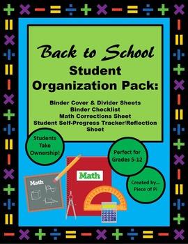 Back to School Middle Upper Grades Math Student Organization