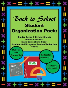 Back to School Middle Upper Grades Math Student Organization