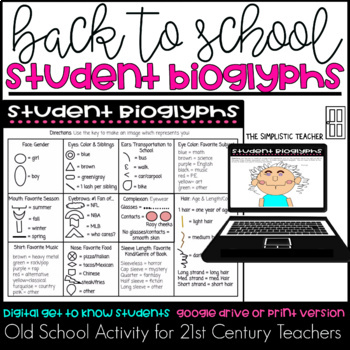 Back to School Student Bioglyphs Digital Get to Know You Activity