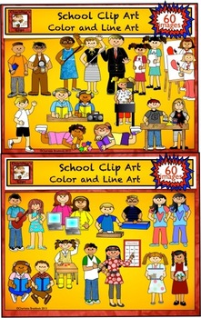 School Clip Art Value Pack with color and line art