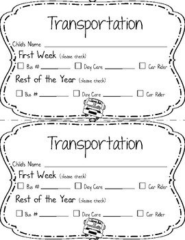 Back to School Student Forms!