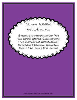 Back to School Student Get to Know Each Other- Summer Activities.