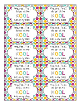 Back to School Student Gift Tag | All the KOOL Kids