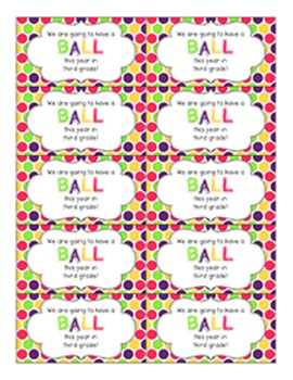Back to School Student Gift Tag | Ball (3rd Grade)