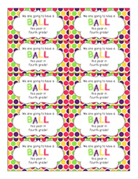 Back to School Student Gift Tag | Ball (4th Grade)