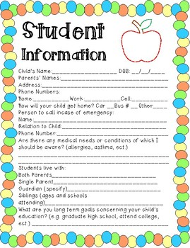 Back to School Student Info