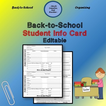 Free Back to School Student Info Card- fully Editable