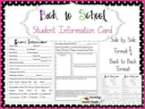 Student Information Card with Technology Questions