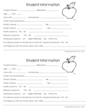 Back to School Student Information Cards
