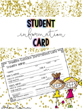 Back to School Student Information Contact Card