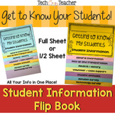 Back to School Student Information Flip Book