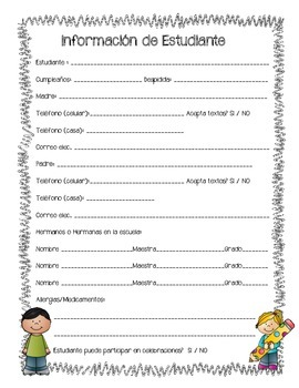 Back to School Student Information Form *Spanish English Creole*