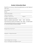 Back to School Student Information Form (Special Education)