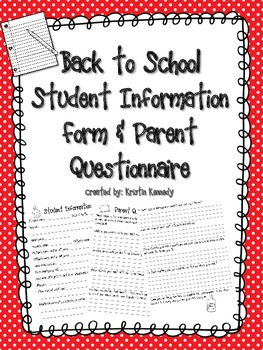 Back to School Student Information Form and Parent Questionnaire