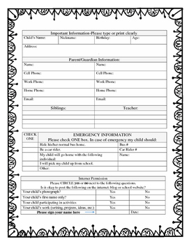 Back to School Student Information Forms