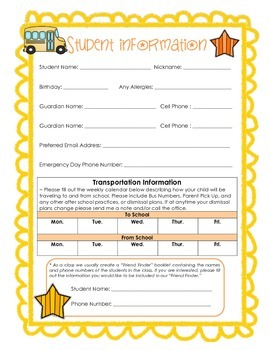 Back to School Student Information Forms Packet