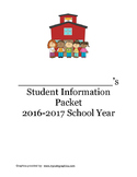 Back to School:  Student Information Packet