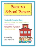 Back to School Student Information Packet