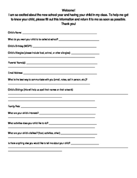 Back to School-Student Information Sheet
