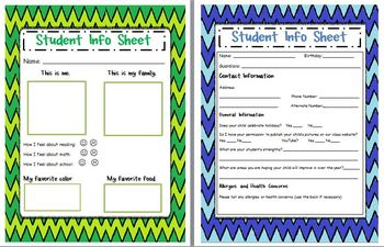 Back to School Student Information Sheets