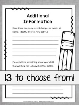 Back to School Activities - FREE Student Information Sheets