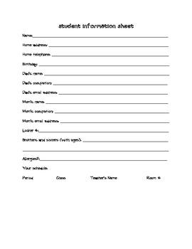 Back to School: Student Information Survey