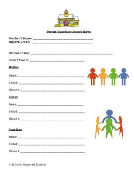 Parent/Guardian Contact Sheet