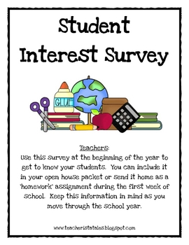 Back to School Student Interest Survey