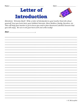 Back to School Student Letter of Introduction