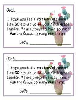 Back to School Student Letters