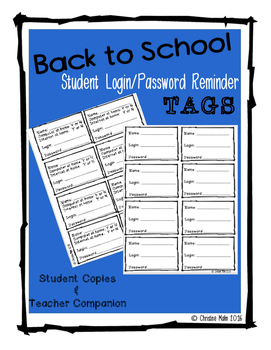 Back to School Student Login & Password Reminder Tags for Students