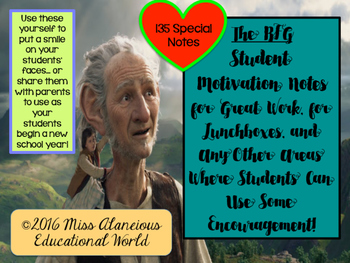 """Back-to-School: Student Motivation Notes ~ Themed """"The BFG"""""""