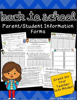 Back to School : Student & Parent Information Forms