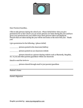 Back to School:  Student Picture Permission Form