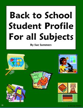 Back to School Student Profile For All Subjects