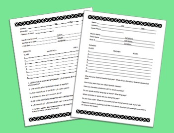 Back to School Student Profile Sheets ~ Spanish & English