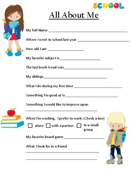 Back to School Student Questionairre/ Getting to know you!