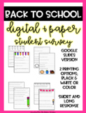DIGITAL Student Survey - Student Questionnaire - Back to School