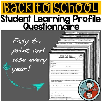 Back to School Student Questionnaire & Learning Profile