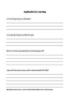 Back to School: Student self-reflection worksheet.