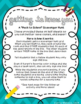 Back to School : Student Scavenger Hunt - FREE!