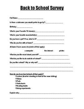 Back to School: Student Survey
