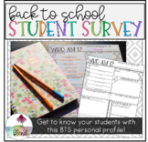 Back to School Student Survey (About Me Profile)