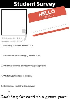 Back to School -  Student Survey, Parent Form, Scavenger H