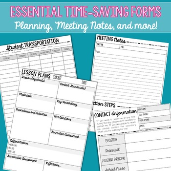 Teacher Planning Templates and Substitute Checklist FREEBIE