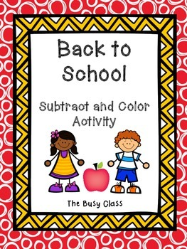 Back to School Subtract and Color Activity
