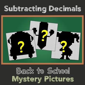 Back to School Subtracting Decimals Mystery Pictures
